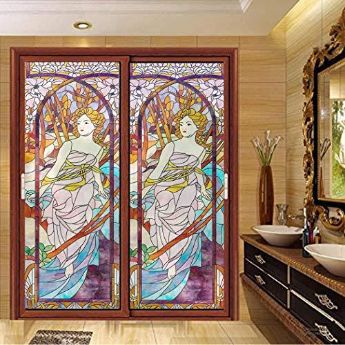 Xijier - Pellicola per finestre in vetro satinato, colore tenue, per la privacy, la Madonna, non adesivo, per finestre, porte, finestre, finestre, decorazione per la casa, 60 x 100 cm