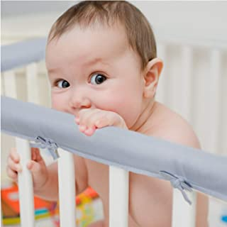 EXQ Home 3-Piece Baby Crib Rail Cover Set for 1 Front Rail and 2 Side Rails,Safe Kids Padded Crib Rail Protector from Chewing for Standard Cribs,Soft Batting Inner for Baby Teething Guard(Grey)