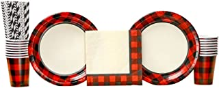 Buffalo Plaid Red Lumberjack party pack for 16 Guests | 24 Paper Straws, 16 Dinner Plates, 16 Luncheon Napkins, and 16 Cups | Charming Bundle for your lumberjack party, camping party or woodland party