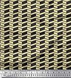 Soimoi Beige Baumwolle Ente Stoff Fischgräte geometrisch