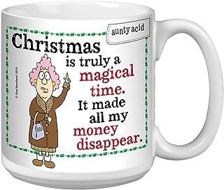 Tree-Free Greetings Extra Large 20-Ounce Ceramic Coffee Mug, Aunty Acid Magical Christmas