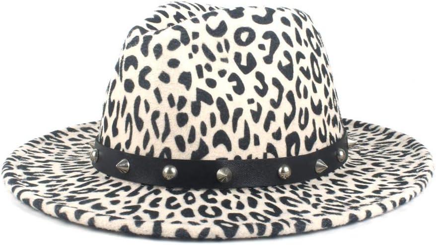 No-branded Men Women Felt Hat Fedora Hat Wool Polyester Fedora Hat Rivet Decoration Autumn Winter Panama Hat Fashion ZRZZUS (Color : White, Size : 56-58cm)