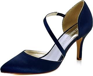 Women High Heel Strappy Dress Pumps Pointy Toe Satin...