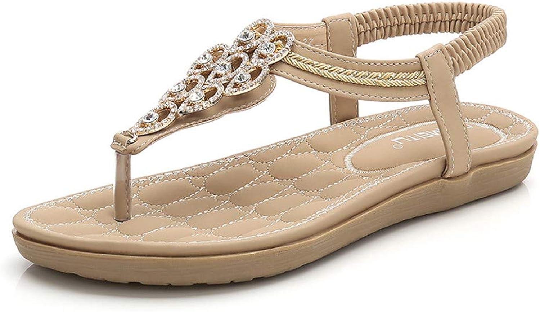 Women's Flip-Flops Thongs Sandals Beach shoes Summer Sandals Bohemian Beaded Flat Strap Clip Toe Sandals