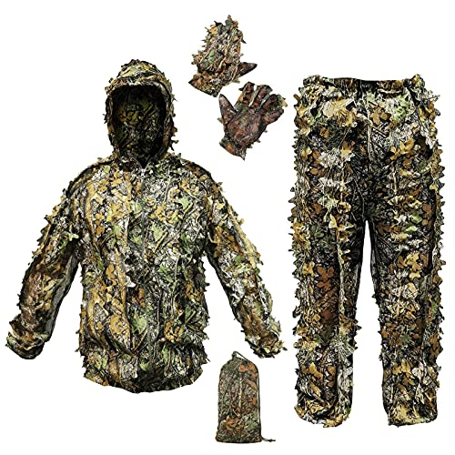 ANYDKE Ghillie Suit Camouflage Hunting Suits Outdoor 3D Leaf Lifelike Camo Clothing Lightweight Breathable Hooded Apparel Suit for Jungle Shooting Airsoft Woodland Photography or Halloween