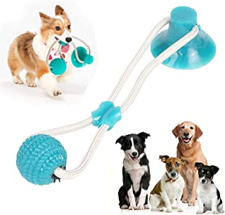 EGUANSHIZU Pet Molar Bite Toy, Multifunction Interactive Ropes Toys, Self-Playing Rubber Chew Ball Toy with Suction Cup fo...