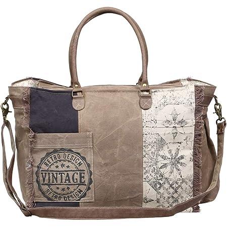 Myra Bags Rock Star Upcycled Canvas Hand Bag S-1045