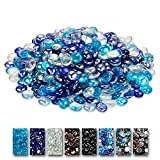 Grisun Fire Glass for Fire Pit, 1/2 Inch Round Glass Rocks for Natural or Propane Fireplace, Fire Pit Round Glass Safe for Outdoors and Indoors Firepit Glass, 10 Pounds