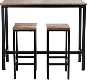 """COSTWAY 3-Piece Bar Table Set, 39.5"""" Bar Table with 2PC 28"""" Bar Stools, Pub Height Dinning Table Set with Counter Height Backless Stools, Breakfast Table Set for Apartment/Bistro/Pub (Rustic Brown)"""