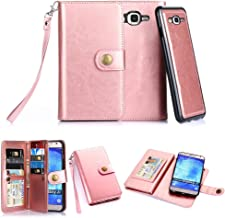 TabPow Galaxy J7 Case, 10 Card Slot - ID Slot, Button Wallet Folio PU Leather Case Cover with Detachable Magnetic Hard Case for Samsung Galaxy J7 J700 (2015) - Rose Pink