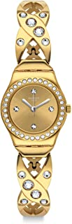 Swatch YSG164G Stone-Embellished Stainless Steel Round Analog Watch for Women - Gold