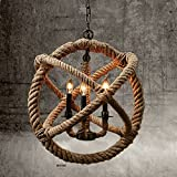 SUN-E Vintage Style 3-Lights Hemp Rope Ball Chandelier Retro Country Style Hanging Island Pendant Light Fixture(35cm)