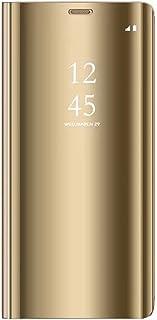 Tianyan Funda para Samsung Galaxy Note 4,Espejo Clear View Flip Cover Carcasa Plegable Soporte,Funda para Samsung Galaxy Note 4,Dorado