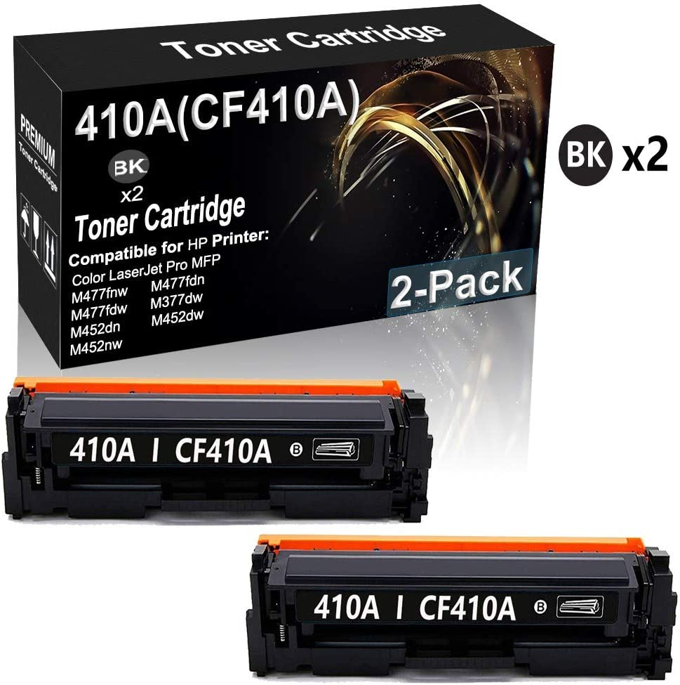 2-Pack Compatible High Yield 410A (CF410A) Imaging Toner Cartridge (Black) Used for HP Color Laserjet Pro MFP M477fnw M477fdn M477fdw M377dw Printer