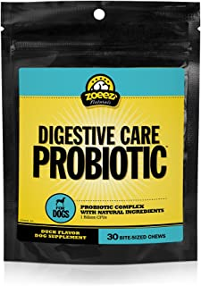 Zoeez Naturals Digestive Care Probiotic for Dogs | Chewable Dog Probiotic Supplement with 1 Billion CFUs, 30 Chews