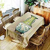 XXDD Mantel con patrón de Loto Creativo florero clásico Paisaje cómodo Mantel Impermeable hogar A1 140x210cm