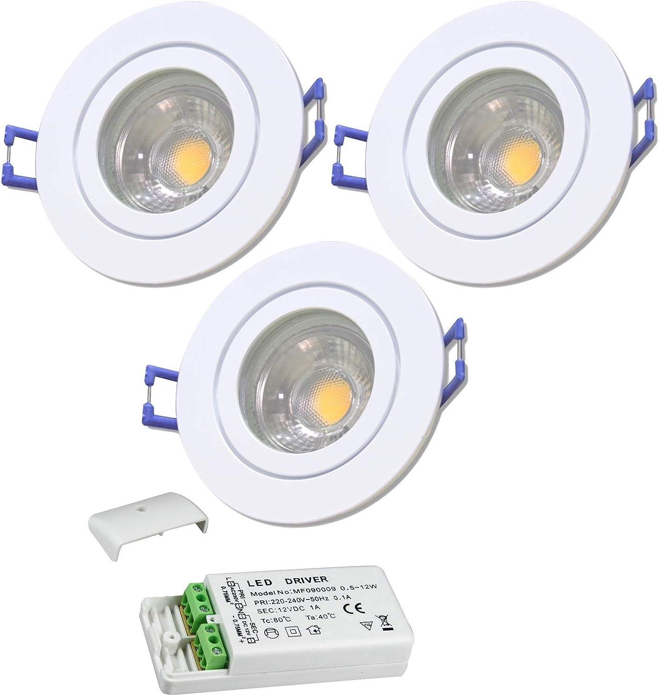 3 Stück IP44 MCOB LED Bad Einbaustrahler Neptun 12 Volt 3 Watt Rund Farbe Wei Lichtfarbe Warmwei inkl. LED Trafo