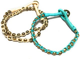 Ishvaku Womens Set Of 2 Braided Bracelets For Women And Girls In Turquoise And Natural Colors Turquoise