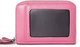 Increased Leather Card Holder Double Zipper Leather Wallet Multifunction RFID Anti-Theft Credit Card Cover Unisex (Color : Pink, Size : S)
