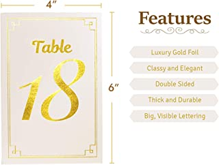 Double-Sided, Easy-to-Read Gold Foil Table Numbers 1-30 Plus 3 Useful Card Signs for Head Table, Guest Book Table, and Favors Table. Great for Both Indoor and Outdoor Events (Cream and Gold)