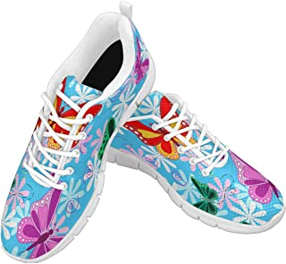 Zenzzle Womens Running Shoes Colorful Flying Butterflies and Flowers Casual Lightweight Athletic Sneakers Size US6-12