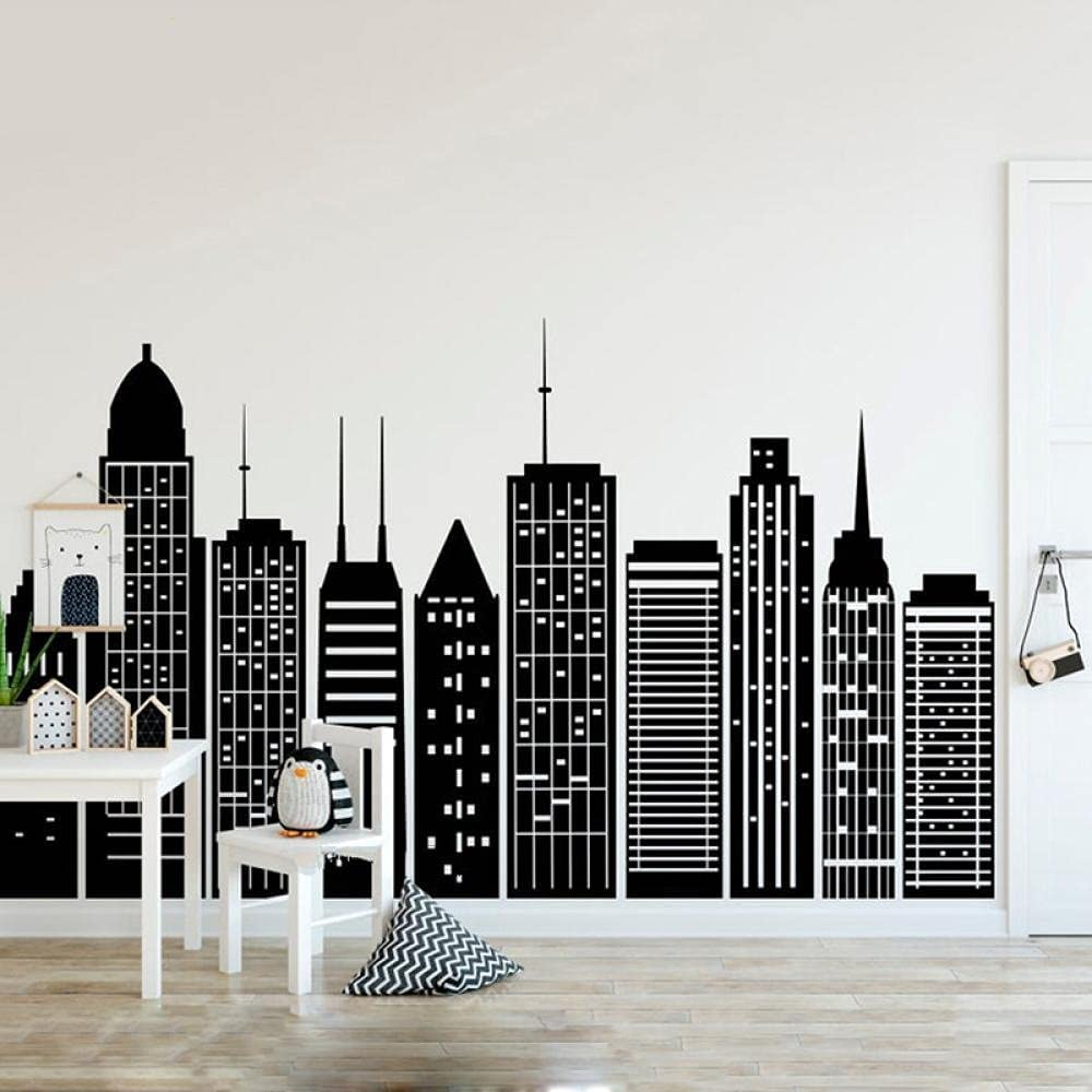NSDQSM Baby Room Decor Challenge Challenge the lowest price of Japan ☆ the lowest price of Japan ☆ Non-Woven Mural Simple Sil Geometric City