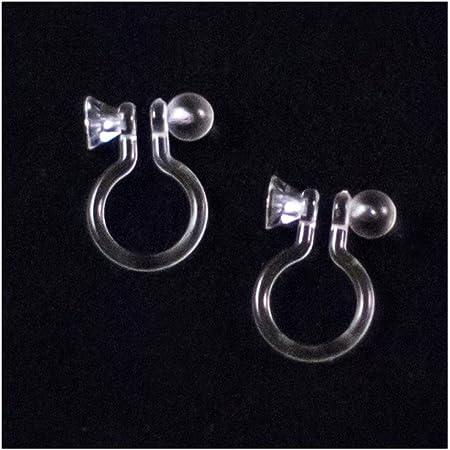 50pcs Clear Plastic Clip-on Earring Blanks w// Loop Non-Pierced Earwires 11x9mm