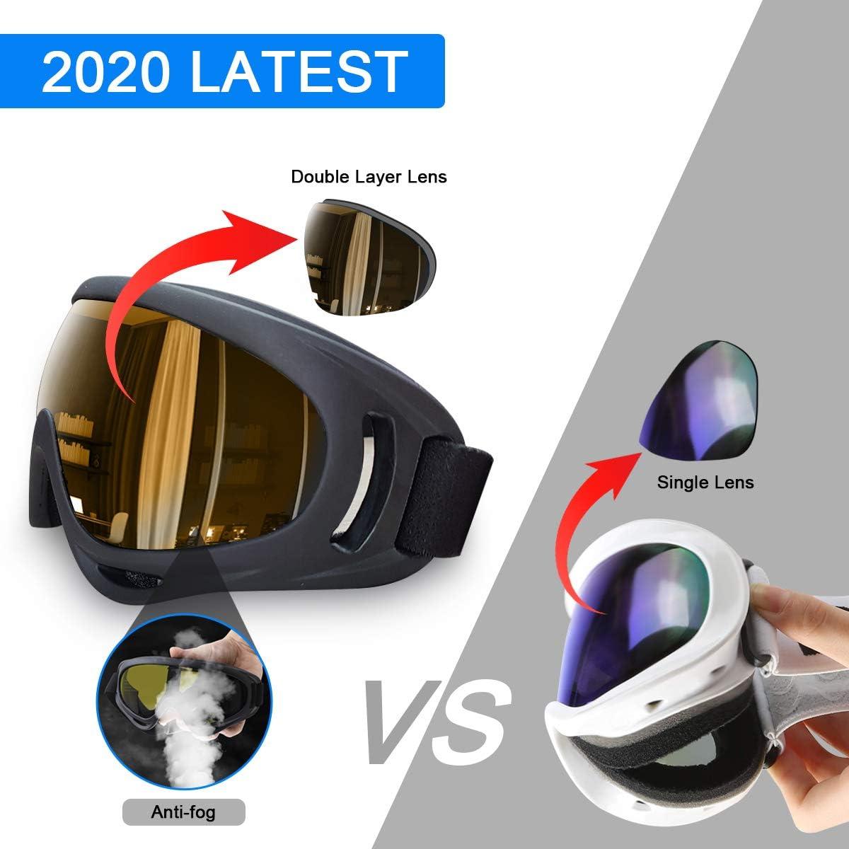 Pack of 2 DODENSHA Ski Goggles,Snowboard Motorcycle Goggles for Women Men Kids Anti-UV Anti-Fog ATV Dirt Bike Riding Goggles