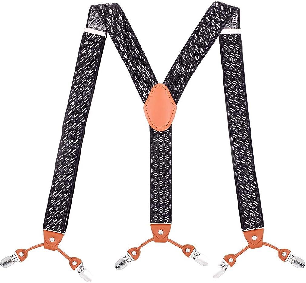 Mens Argyle Y Shape Suspenders 1.4 In Width 49 In Long Heavy Duty Braces&6 Clips