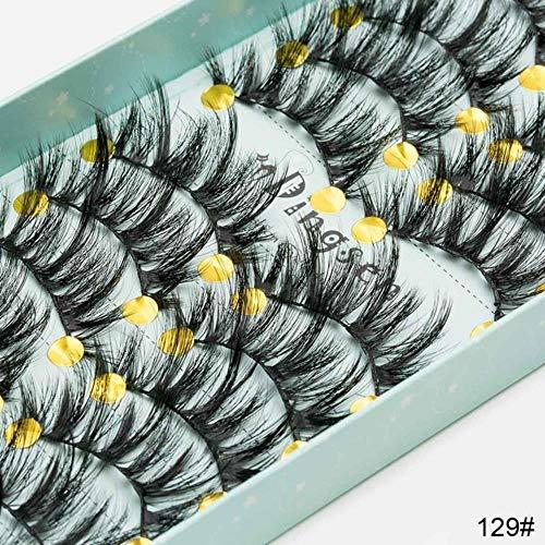 ABO Doux Faux Cheveux de Vison Faux Cils Faux Cils entrecroisés Cils vaporeux Extension Outils de Maquillage 10 Paires, 3D-129