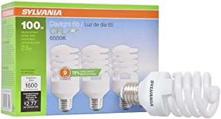 LEDVANCE 26352 Sylvania CFL Light Bulb, 6500K, 3 Count