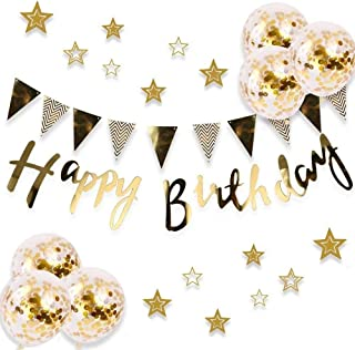 Happy Birthday Decorations Banner Birthday Party Supplies Gold Confetti Balloons Set TD062