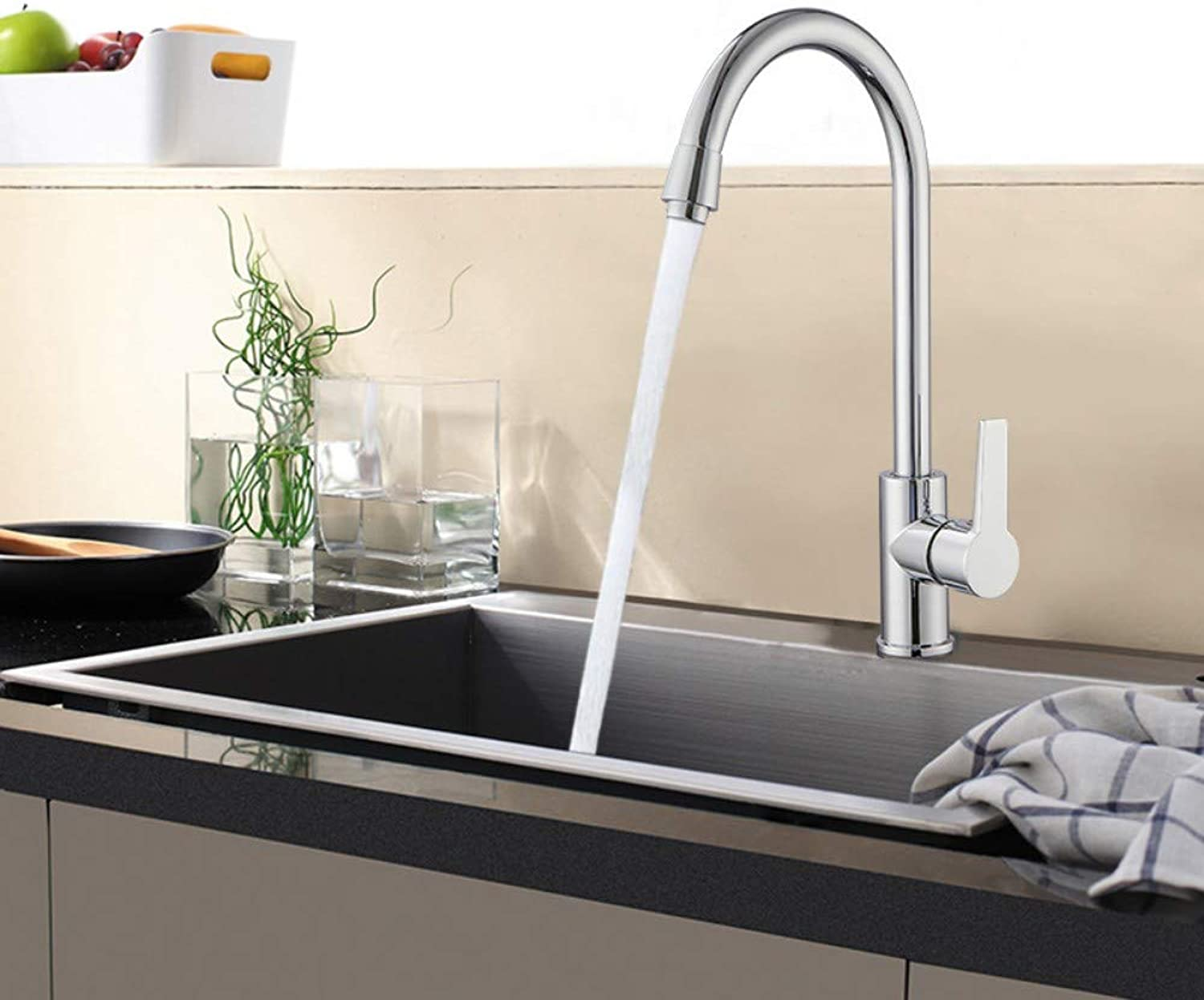 Copper Core Three-Way Large Curved Tube Kitchen Sink Hot and Cold Water Mixing Valve Faucet