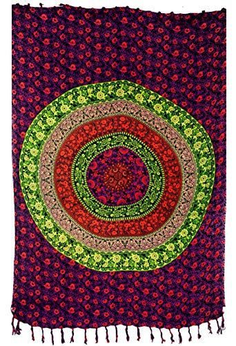 GURU SHOP Bali Sarong, Wandtuch, Wickelrock, Sarongkleid, Herren/Damen, Schwarz/pink, Synthetisch, Size:One Size, 160x115 cm, Sarongs, Strandtücher Alternative Bekleidung