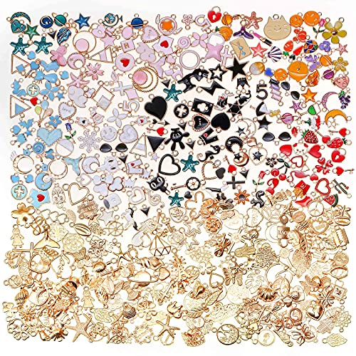 400pcs Gold Plated Enamel Jewelry Making Charms, Dyroubo Assorted Jewelry Charms Bangle Charms, Mixed Bulk Metal Earring Charms, Necklace Bracelet Charms for DIY Jewelry Making and Crafting