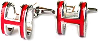 Aooaz Cufflinks H Letter Cufflinks Personalized Red