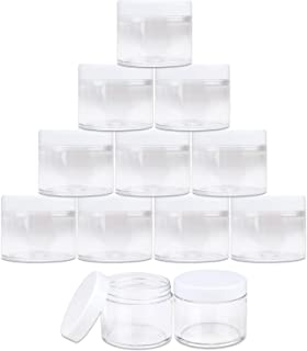 Beauticom 2 oz./60 Grams/60 ML (Quantity: 12 Packs) Thick Wall Round Clear Plastic LEAK-PROOF Jars Container with WHITE Lids for Cosmetic, Lip Balm, Lip Gloss, Creams, Lotions, Liquid