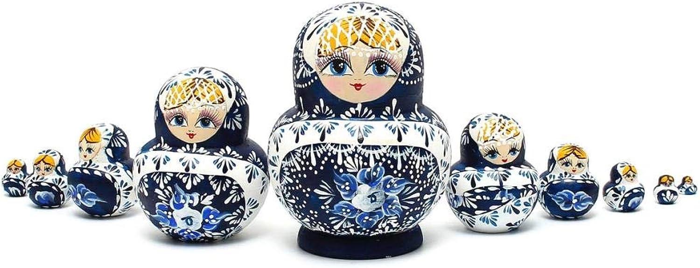Russian Nesting Dolls 10pcs Set bluee Hand Painted
