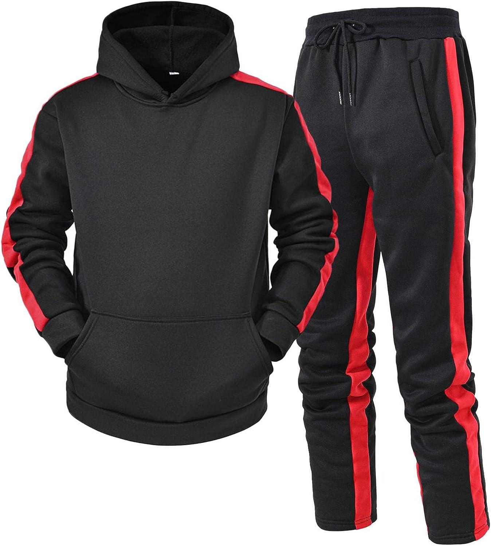 Men's 2 Piece Tracksuit Set, Jogging Activewear Long Sleeve Slim Fit Pullover Hoodies Casual Color Block Sweatsuit