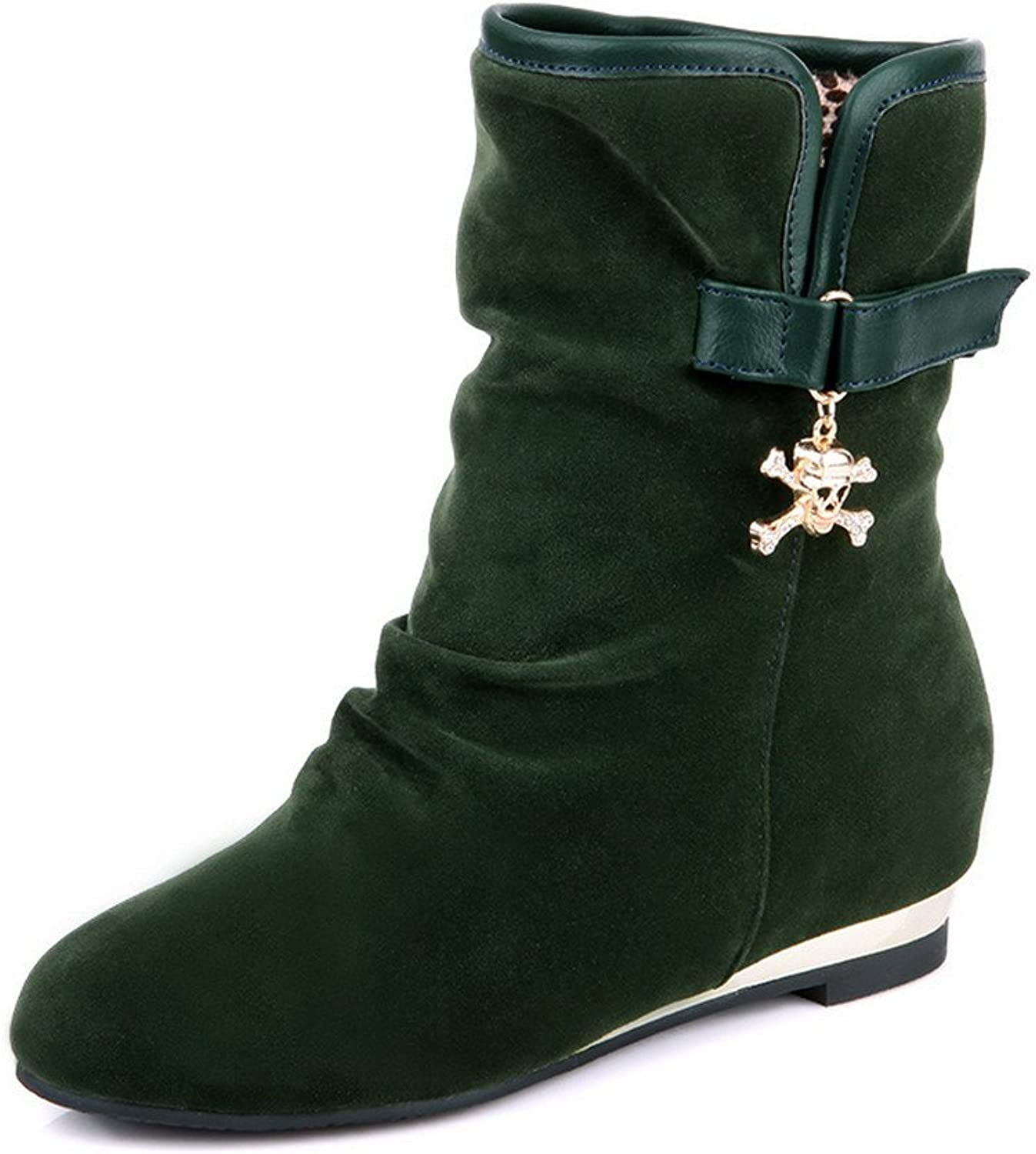AmoonyFashion Girls Closed Round Toe Kitten Heels PU Short Plush Solid Boots with Ruched and Skull Heads, Green, 7.5 B(M) US