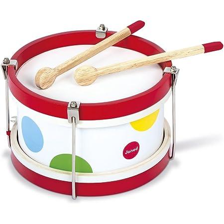 Janod - Mon Premier Tambour en Bois Confetti - Instrument de Musique Enfant - Jouet d'Imitation et d'Éveil Musical - Dès 2 Ans, J07608