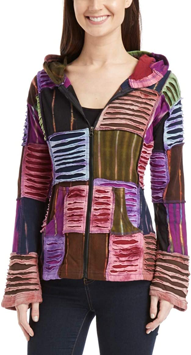 outlet THE COLLECTION ROYAL Patchwork Colorful Nepal Outlet SALE Cotton Hooded Jack