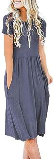AUSELILY Women's Short Sleeve Pockets Empire Waist...