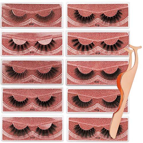 AODOOR 10 Paare 3D Falsche Wimpern Damen, Wiederverwendbar Künstliche Wimpern, Ultradünne Wimpern Set Handgemacht Lashes