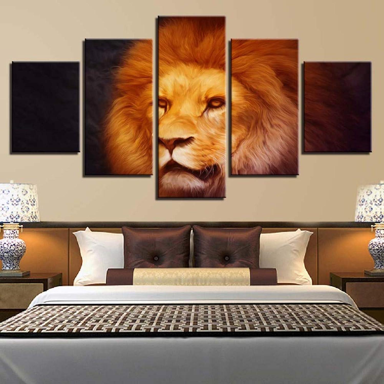 Ssckll Lienzo HD Imprime Pinturas para La Sala De Estar Decoración para El Hogar 5 Piezas De León Imágenes Abstractas Animales Modulares Carteles Arte De La Parojo-Marco