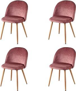 GroBKau Silla de salón de tela de terciopelo retro, sillas de comedor tapizadas con patas de metal, estilo madera, sala de estar, muebles modernos de oficina (4 rosas).