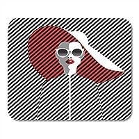 ゲーミングマウスパッド美しい若い女性サングラスと帽子レトロポップ夏の装飾オフィス滑り止めラバーバッキングマウスパッドマウスマット