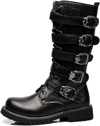 Hommes Chaussures à Lacets Lacets Boucle De Ceinture en Cuir Haut Milieu Veau Bottes De Combat pour Les Messieurs Exécuter Une Taille Plus Grande,2018 Bottes Homme (Couleur   Noir, Taille   39 EU)