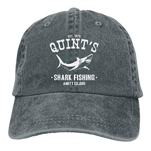 Adult Unisex Cotton Jeans Cap Old-Fashion Adjustable Hat Quints Shark Fishing Jaws 7 Colors Available-Asphalt Black