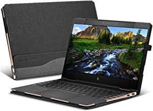 for Hp Spectre X360 13.3 Inch Case, PU Leather Folio Stand Hard Cover for Hp Spectre x360 13.3 2 in 1 Laptop Sleeve, Gray